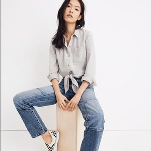 Madewell tie front flannel shirt